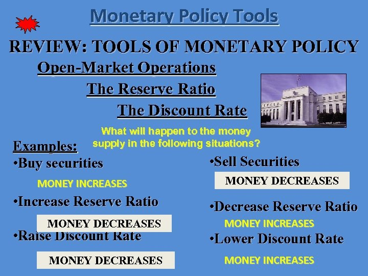 Monetary Policy Tools REVIEW: TOOLS OF MONETARY POLICY Open-Market Operations The Reserve Ratio The