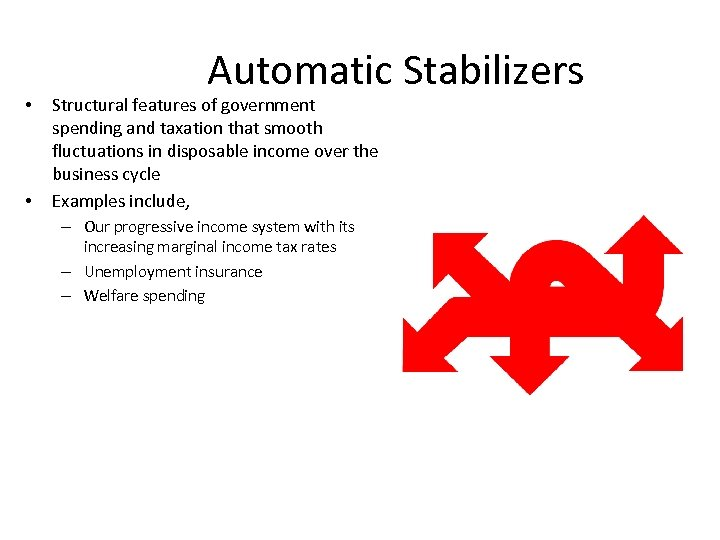 • • Automatic Stabilizers Structural features of government spending and taxation that smooth