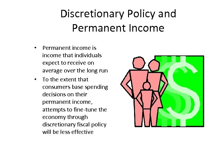 Discretionary Policy and Permanent Income • Permanent income is income that individuals expect to