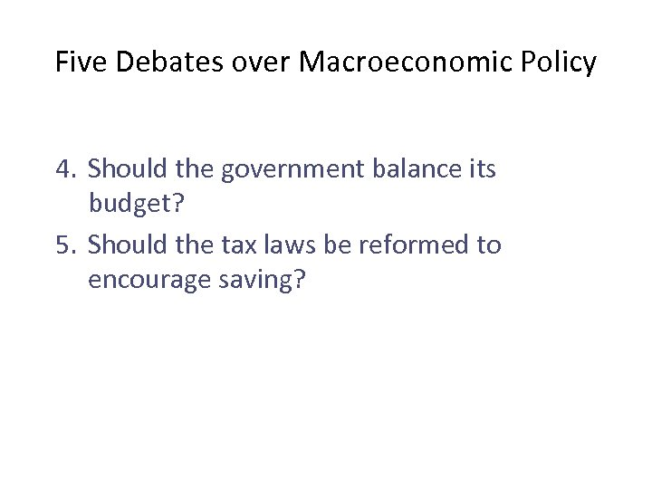 Five Debates over Macroeconomic Policy 4. Should the government balance its budget? 5. Should