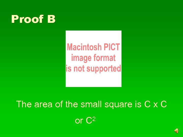 Proof B The area of the small square is C x C or C