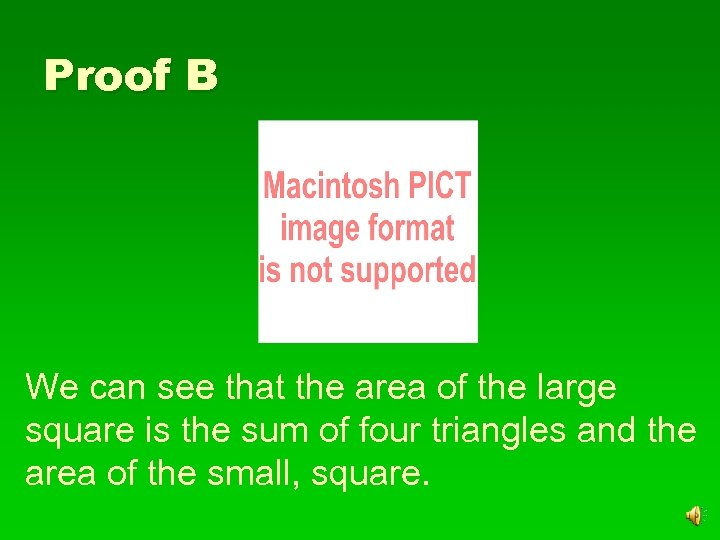Proof B We can see that the area of the large square is the