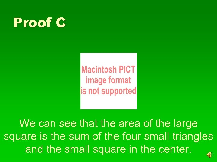 Proof C We can see that the area of the large square is the