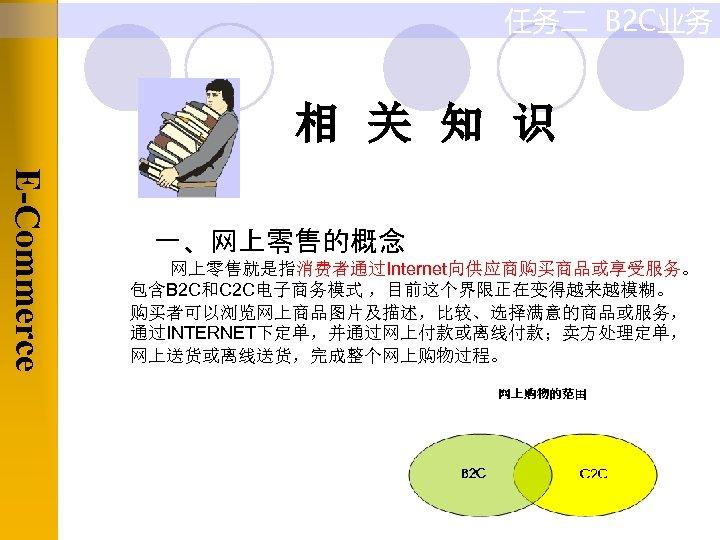 任务二 B 2 C业务 相 关 知 识 E-Commerce 一、网上零售的概念 网上零售就是指消费者通过Internet向供应商购买商品或享受服务。 包含B 2 C和C