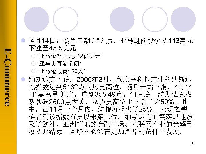 "E-Commerce l "" 4月14日:黑色星期五""之后,亚马逊的股价从113美元 下挫至 45. 5美元 ¡ ""亚马逊6年亏损 12亿美元"" ¡ ""亚马逊可能倒闭"" ¡ ""亚马逊裁员"