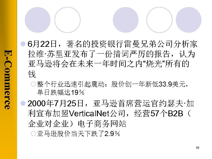 "E-Commerce l 6月22日,著名的投资银行雷曼兄弟公司分析家 拉维·苏里亚发布了一份措词严厉的报告,认为 亚马逊将会在未来一年时间之内""烧光""所有的 钱 ¡ 整个行业迅速引起震动:股价创一年新低33. 9美元, 单日跌幅达 19% l 2000年"