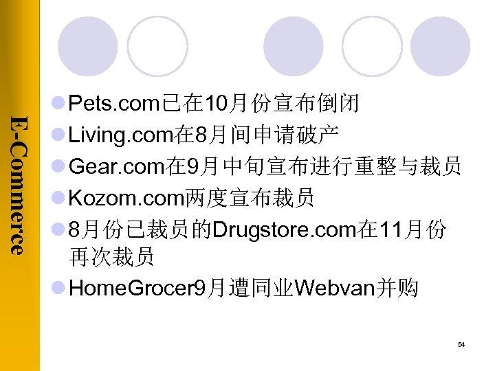 E-Commerce l Pets. com已在 10月份宣布倒闭 l Living. com在 8月间申请破产 l Gear. com在 9月中旬宣布进行重整与裁员 l