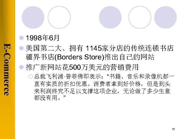 "E-Commerce l 1998年 6月 l 美国第二大、拥有 1145家分店的传统连锁书店 疆界书店(Borders Store)推出自己的网站 l 推广新网站花 500万美元的营销费用 ¡ 总裁飞利浦·普菲佛即表示:""书籍、音乐和录像机都一"