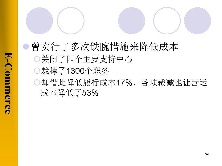 E-Commerce l 曾实行了多次铁腕措施来降低成本 ¡关闭了四个主要支持中心 ¡裁掉了1300个职务 ¡却借此降低履行成本 17%,各项裁减也让营运 成本降低了53% 99
