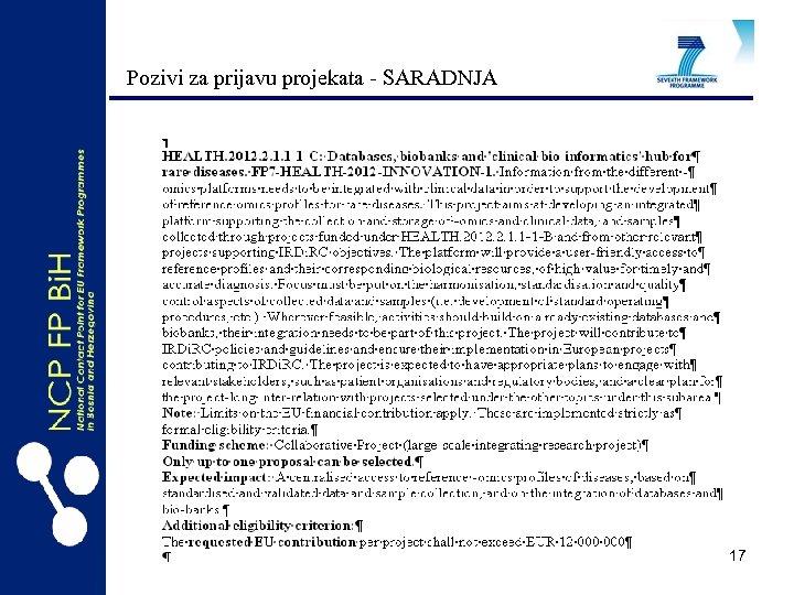 Pozivi za prijavu projekata - SARADNJA 17