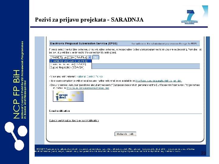 Pozivi za prijavu projekata - SARADNJA 23