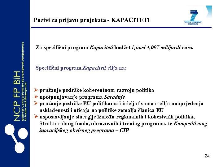 Pozivi za prijavu projekata - KAPACITETI Za specifični program Kapaciteti budžet iznosi 4, 097