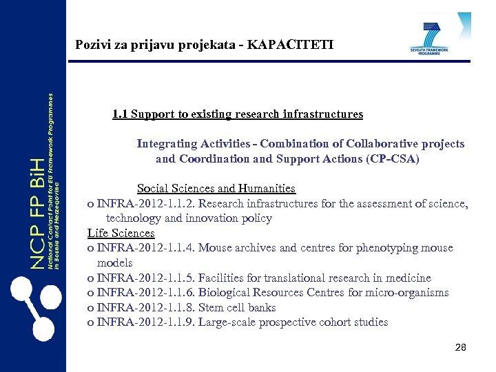 Pozivi za prijavu projekata - KAPACITETI 1. 1 Support to existing research infrastructures Integrating