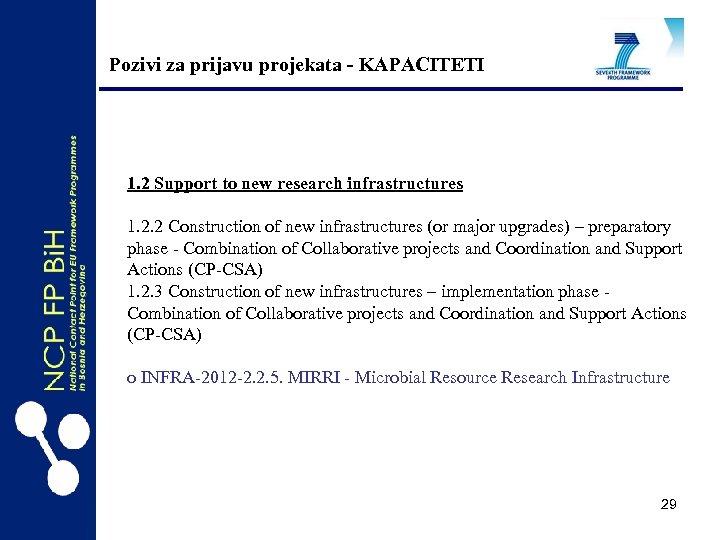 Pozivi za prijavu projekata - KAPACITETI 1. 2 Support to new research infrastructures 1.