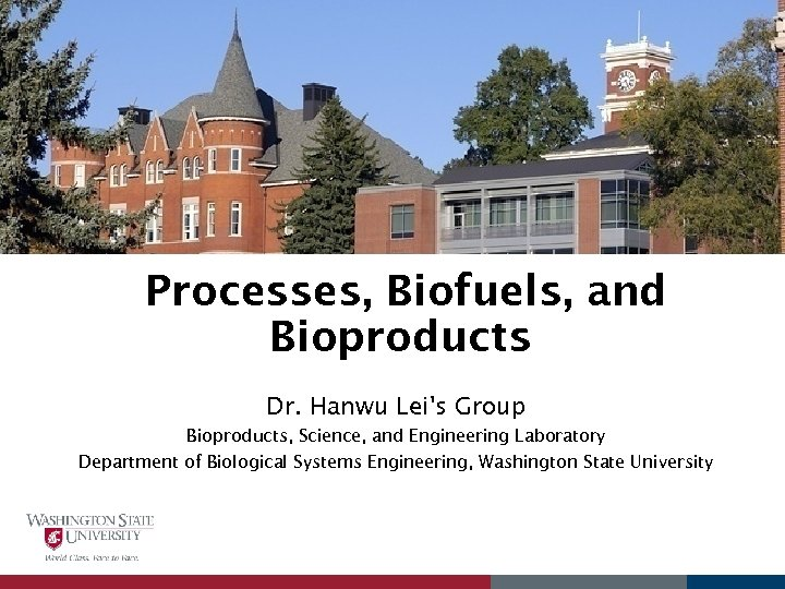 Processes, Biofuels, and Bioproducts Dr. Hanwu Lei's Group Bioproducts, Science, and Engineering Laboratory Department