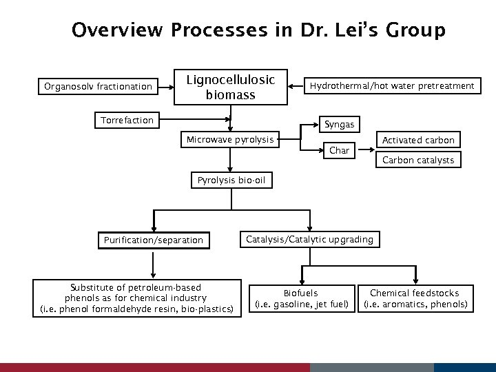 Overview Processes in Dr. Lei's Group Organosolv fractionation Lignocellulosic biomass Torrefaction Hydrothermal/hot water pretreatment