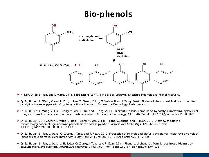 Bio-phenols v H. Lei*, Q. Bu, S. Ren, and L. Wang. 2011. Filed patent