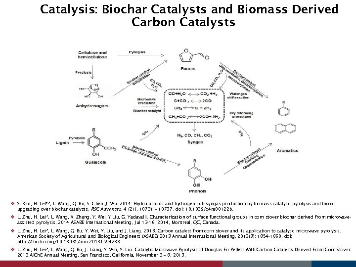 Catalysis: Biochar Catalysts and Biomass Derived Carbon Catalysts v S. Ren, H. Lei**, L.