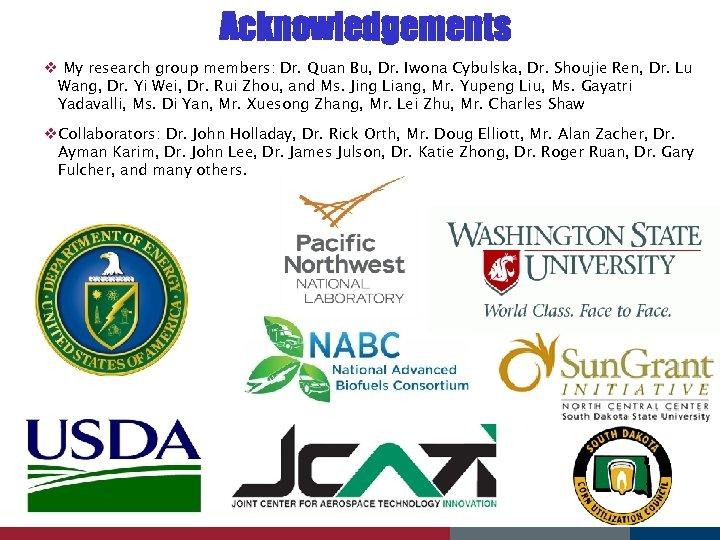 Acknowledgements v My research group members: Dr. Quan Bu, Dr. Iwona Cybulska, Dr. Shoujie