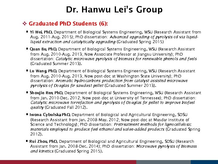 Dr. Hanwu Lei's Group v Graduated Ph. D Students (6): Yi Wei, Ph. D,