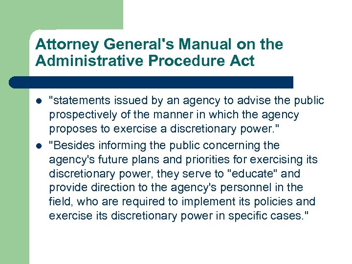 Attorney General's Manual on the Administrative Procedure Act l l