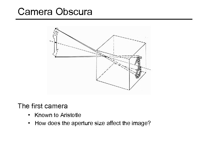 Camera Obscura The first camera • Known to Aristotle • How does the aperture