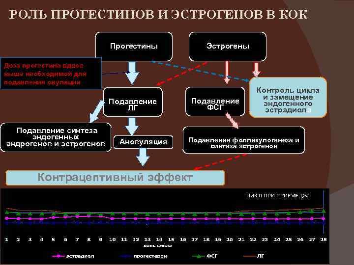 РОЛЬ ПРОГЕСТИНОВ И ЭСТРОГЕНОВ В КОК Прогестины Эстрогены Доза прогестина вдвое выше необходимой для