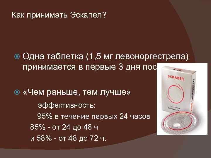 Как принимать Эскапел? Одна таблетка (1, 5 мг левоноргестрела) принимается в первые 3 дня