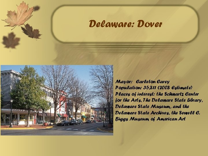 Delaware: Dover Mayor: Carleton Carey Population: 35, 811 (2008 Estimate) Places of interest: the