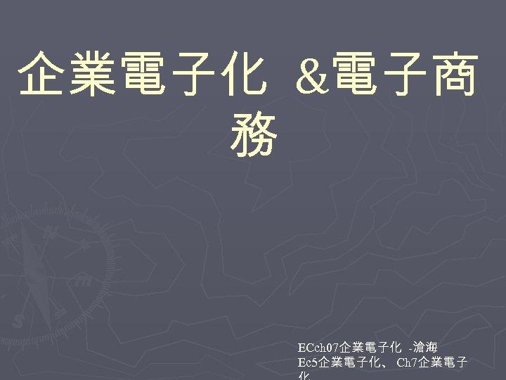 企業電子化 &電子商 務 ECch 07企業電子化 -滄海 Ec 5企業電子化、 Ch 7企業電子