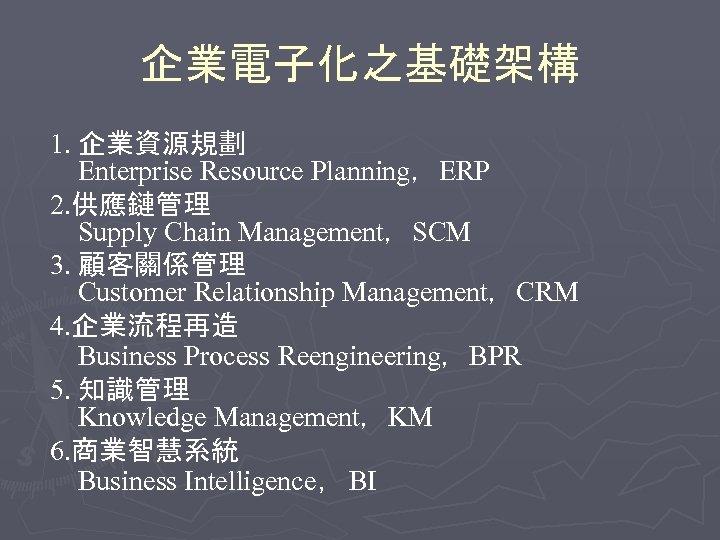 企業電子化之基礎架構 1. 企業資源規劃 Enterprise Resource Planning,ERP 2. 供應鏈管理 Supply Chain Management,SCM 3. 顧客關係管理 Customer