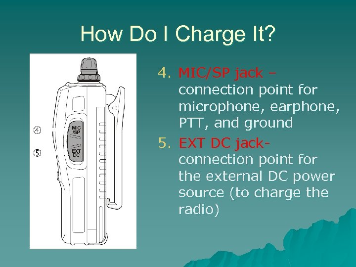 How Do I Charge It? 4. MIC/SP jack – connection point for microphone, earphone,