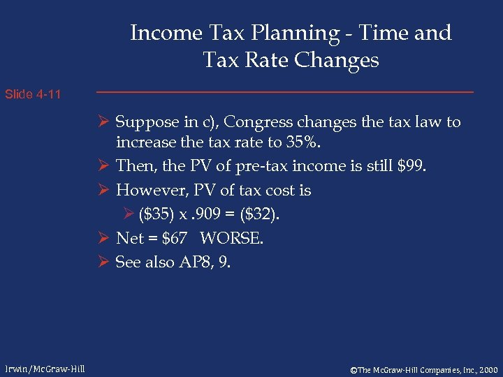 Income Tax Planning - Time and Tax Rate Changes Slide 4 -11 Ø Suppose