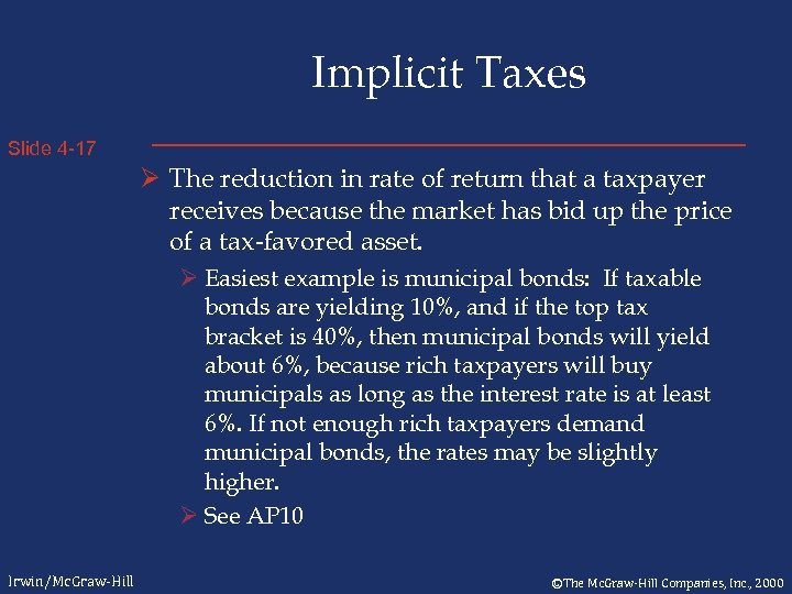 Implicit Taxes Slide 4 -17 Ø The reduction in rate of return that a