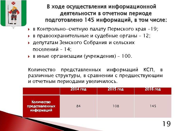В ходе осуществления информационной деятельности в отчетном периоде подготовлено 145 информаций, в том числе: