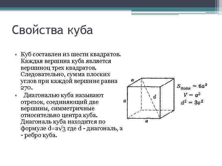 Свойства куба • Куб составлен из шести квадратов. Каждая вершина куба является вершиноц трех