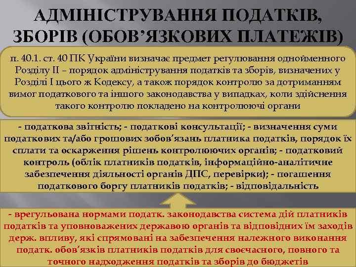 АДМІНІСТРУВАННЯ ПОДАТКІВ, ЗБОРІВ (ОБОВ'ЯЗКОВИХ ПЛАТЕЖІВ) п. 40. 1. ст. 40 ПК України визначає предмет