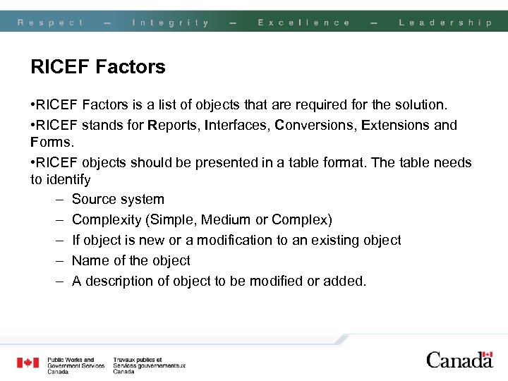 RICEF Factors • RICEF Factors is a list of objects that are required for