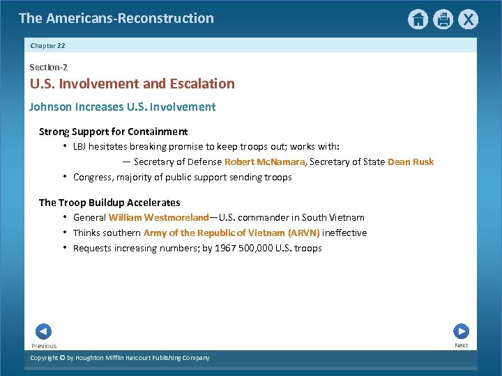 The Americans-Reconstruction Chapter 22 Section-2 U. S. Involvement and Escalation Johnson Increases U. S.