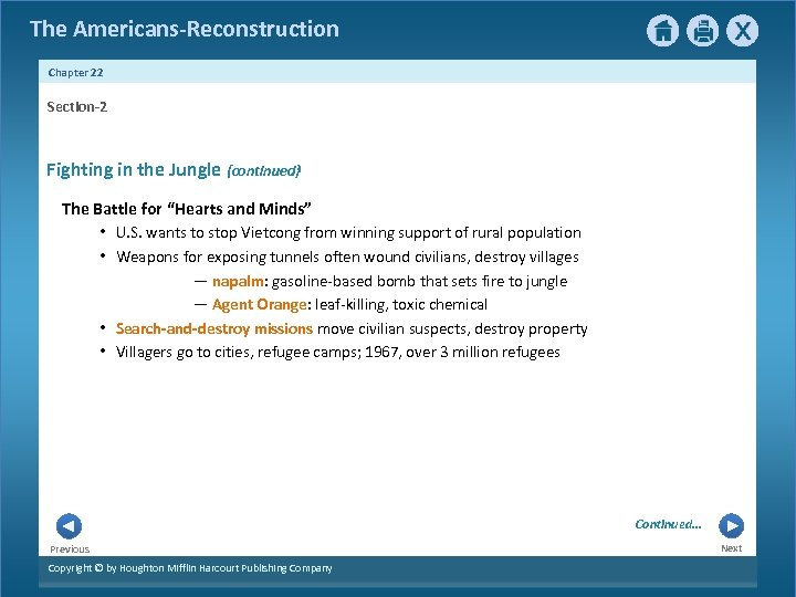 """The Americans-Reconstruction Chapter 22 Section-2 Fighting in the Jungle {continued} The Battle for """"Hearts"""