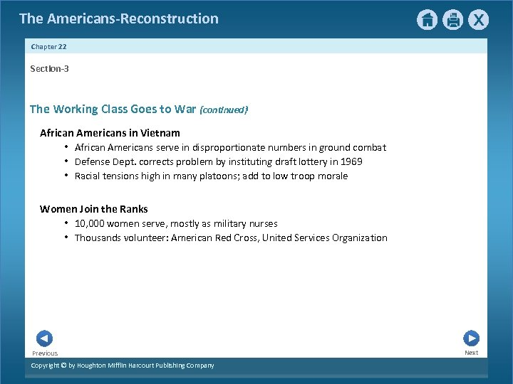 The Americans-Reconstruction Chapter 22 Section-3 The Working Class Goes to War {continued} African Americans