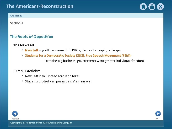 The Americans-Reconstruction Chapter 22 Section-3 The Roots of Opposition The New Left • New