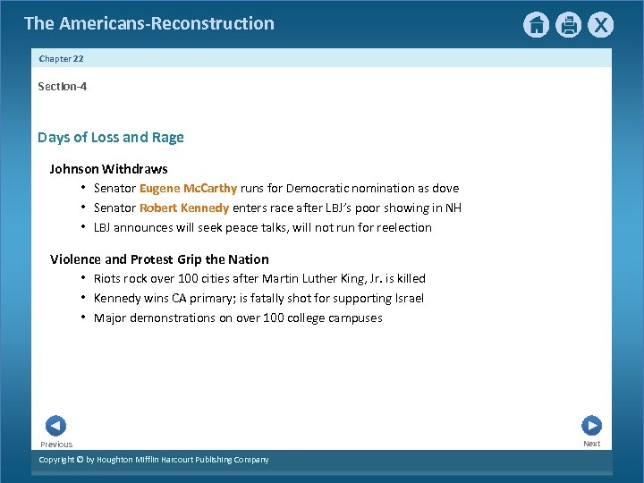 The Americans-Reconstruction Chapter 22 Section-4 Days of Loss and Rage Johnson Withdraws • Senator