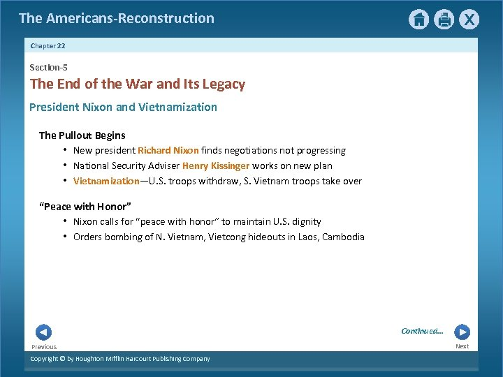 The Americans-Reconstruction Chapter 22 Section-5 The End of the War and Its Legacy President