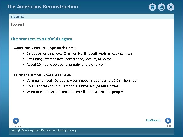 The Americans-Reconstruction Chapter 22 Section-5 The War Leaves a Painful Legacy American Veterans Cope