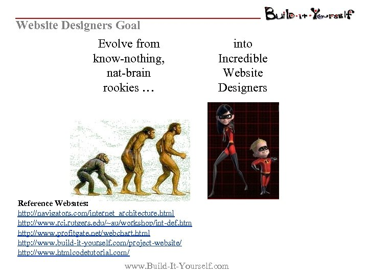 Website Designers Goal Evolve from know-nothing, nat-brain rookies … into Incredible Website Designers Reference
