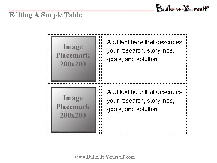 Editing A Simple Table Add text here that describes your research, storylines, goals, and