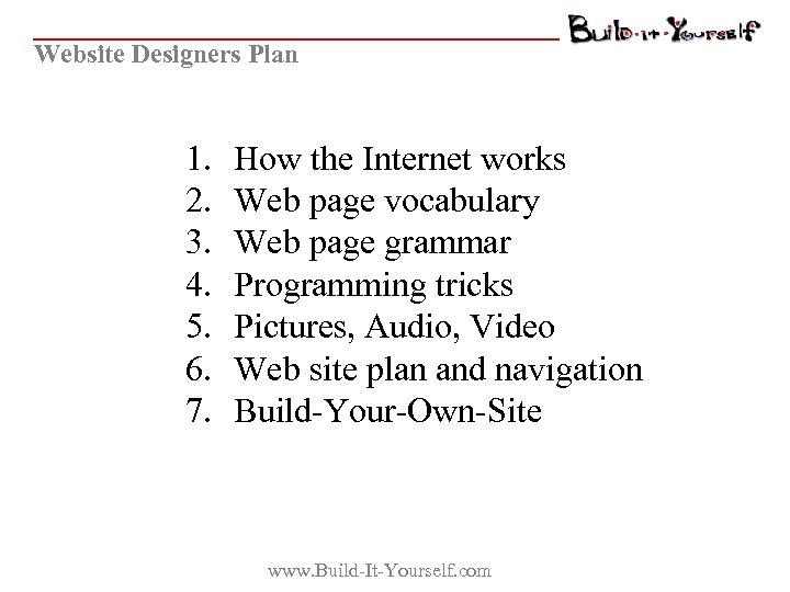 Website Designers Plan 1. 2. 3. 4. 5. 6. 7. How the Internet works