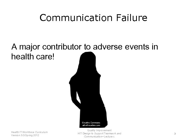Communication Failure A major contributor to adverse events in health care! Health IT Workforce