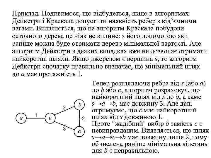 Приклад. Подивимося, що відбудеться, якщо в алгоритмах Дейкстри і Краскала допустити наявність ребер з